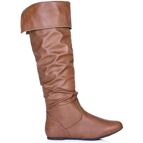 buy alyson flat knee high slouch boots leather style