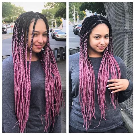 waist length ombre long waist length box braids wit pink and black hair ombre