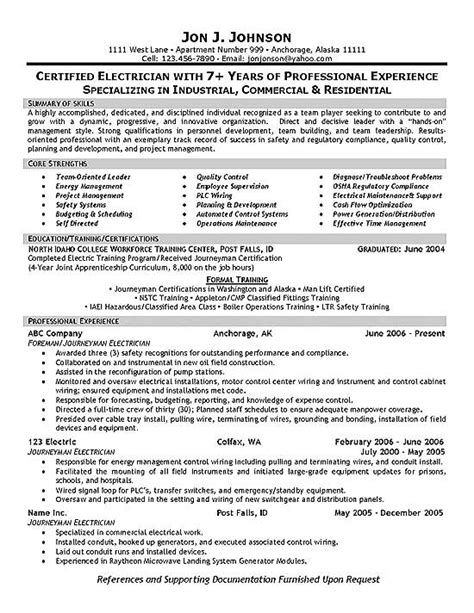 Resume Sles For Electricians Maintenance Electrician Resume Exle