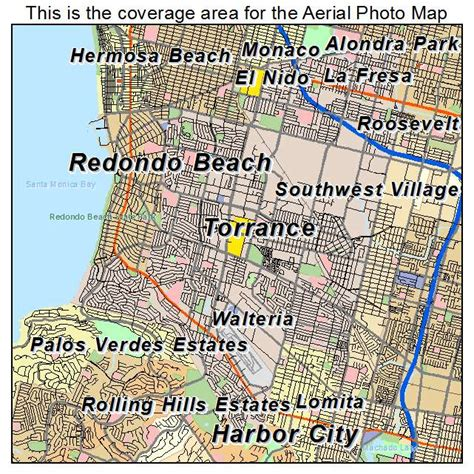 aerial photography map of torrance ca california