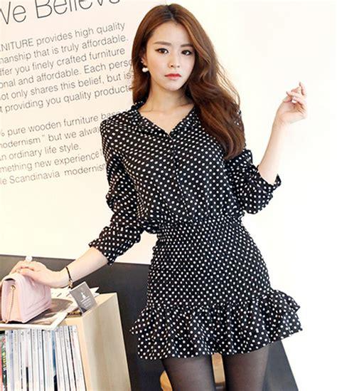 Dress Pinguin Polka Dress Korea dabagirl frilly hem polka dot dress kstylick korean fashion k pop styles