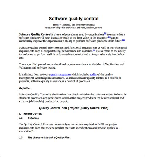 sle quality control plan template 8 free documents