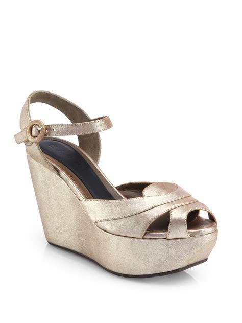 marni metallic leather platform wedge sandals in silver