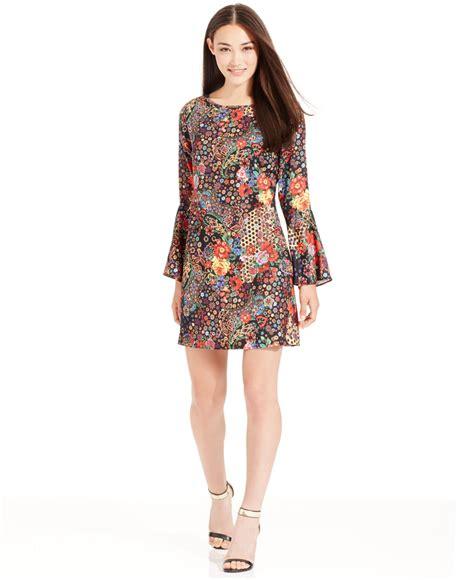 lyst eci bell sleeve floral print mini dress
