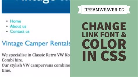 change link font color in css dreamweaver cc tutorial