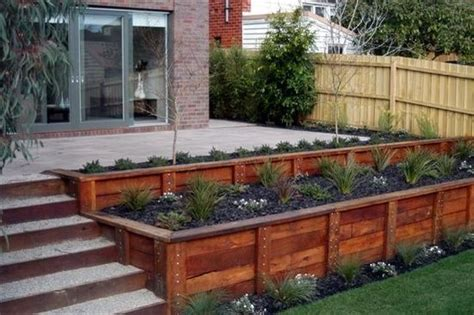 Retaining Wall Ideas Sloped Backyard Interesting Idea For Deck A Sloping Yard Front Yard Sloped Bed Ideas Pinterest