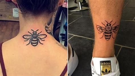 hundreds queue  bee tattoos  support  victims