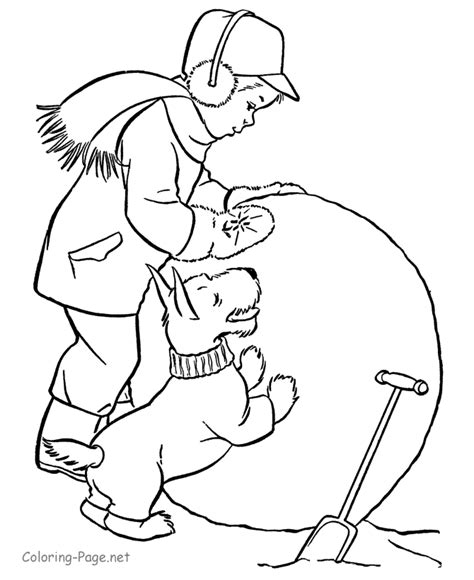 winter coloring book page big snowball