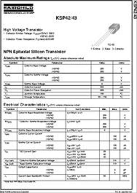 transistor ksp 42 ksp42 datasheet npn epitaxial silicon transistor