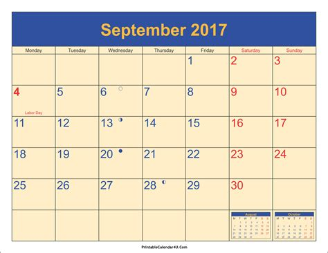 Calendar For September 2017 September 2017 Calendar Printable Template With Holidays Pdf