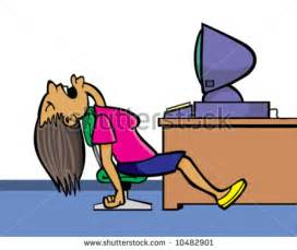Sleeping At Desk Clipart vector of sleeping in office near computer bored by course or much e