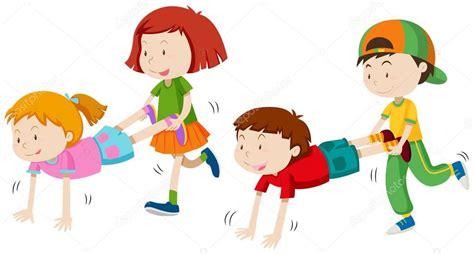 imagenes de niños jugando juegos tradicionales ni 241 os jugando a carretilla vector de stock