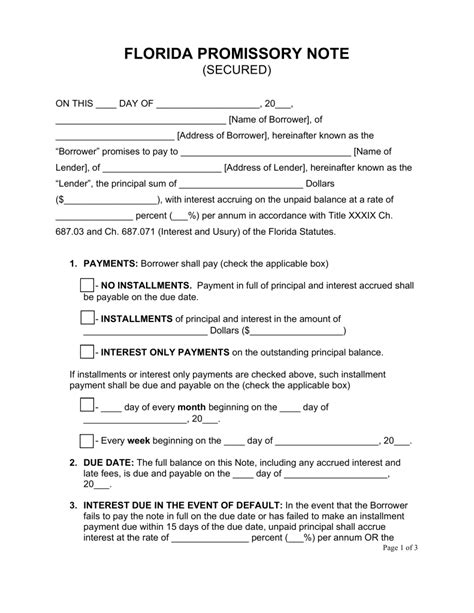 promissory note template florida free florida secured promissory note template word pdf