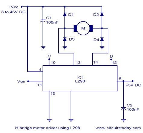 h bridge motor circuit schematic diagram using ic l298