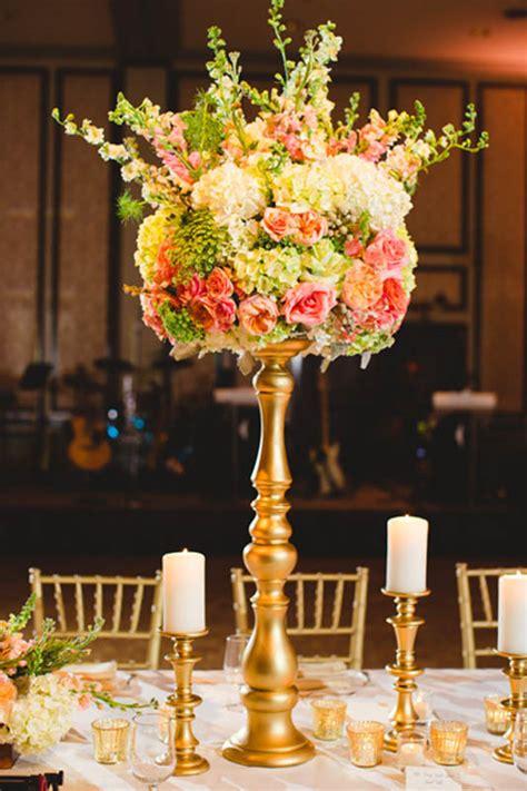 Peach Green Gold Centerpiece Adolphus Hotel Wedding Gold Centerpieces Wedding Reception