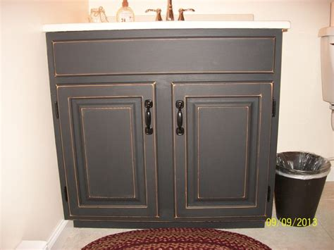finished bathroom vanity cabinet with black chalkboard