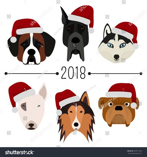 new year 2018 animal pictures 2018 happy new year set 6 stock vector 769511995