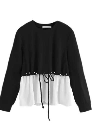 Women's Fashion Round Neck Solid Color Beaded Long-Sleeved