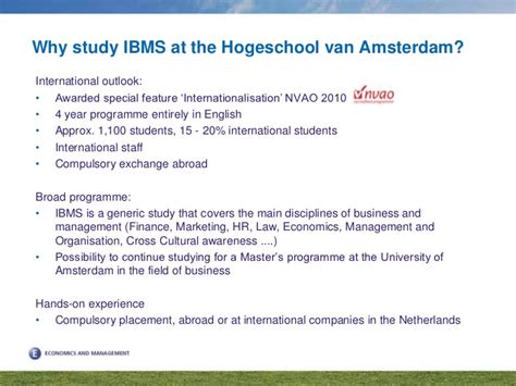Of Amsterdam Mba Requirements by International Business And Management Studies Hogeschool