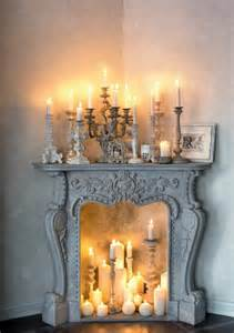 decorative fireplace romantic mood with candles and