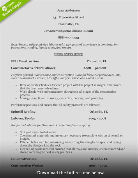 Roofing Job Description Resume by How To Write A Perfect Construction Resume Examples Included