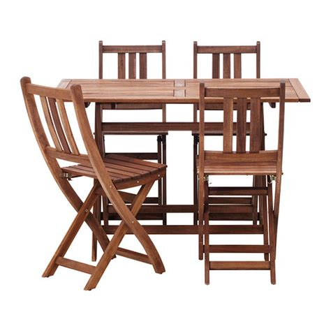 folding acacia wood ikea bollo dining bistro table