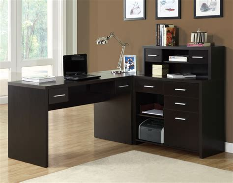 office desj monarch specialties 7018 l shaped home office desk in cappuccino hollow beyond stores
