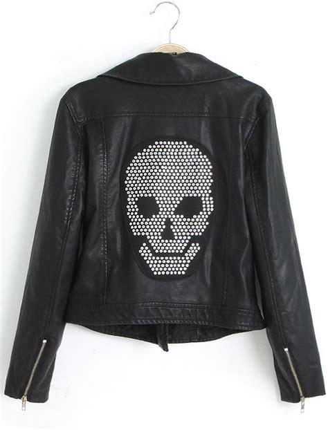 black sleeve skull embellished pu leather jacket