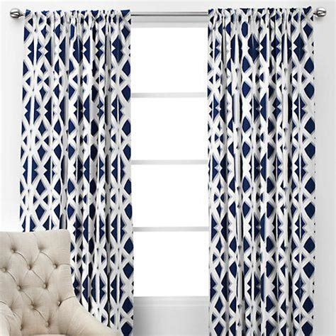 white and navy curtain panels embroidered mosaic navy blue curtain
