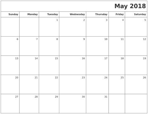 printable calendar may 2018 may 2018 printable blank calendar