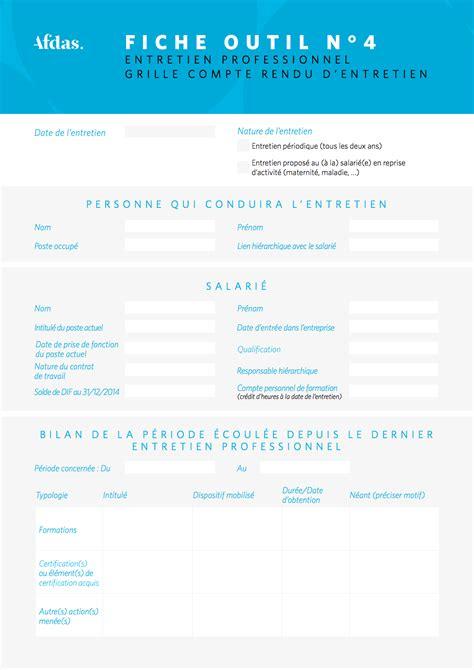 Grille D Entretien Professionnel by Grille De Compte Rendu D Entretien Professionnel Afdas