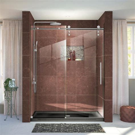 Stainless Steel Shower Doors Shop Dreamline Enigma Z 56 In To 60 In Frameless Brushed Stainless Steel Sliding Shower Door At