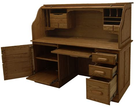 Roll Top Computer Desks For Home 60 Quot W Solid Oak Rolltop Computer Desk In Briar Finish In Stock