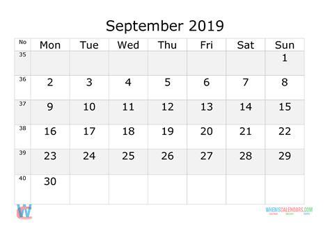 september  calendar  week numbers printable start  monday  printable