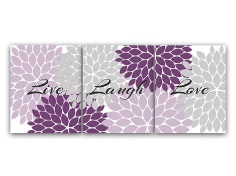 purple wall decor for bedrooms purple and grey bedroom decor live laugh love instant