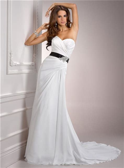 casual simple   sweetheart chiffon wedding dress