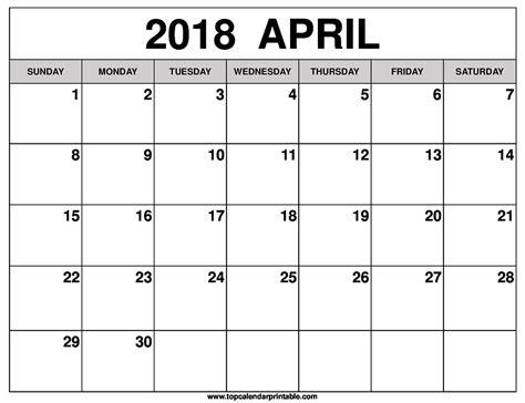 printable calendar for april 2018 april 2018 calendar