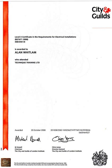 city and guilds certificate template kaygee data electrical ltd