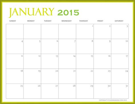 free printable 2015 monthly calendar 2017 printable calendar