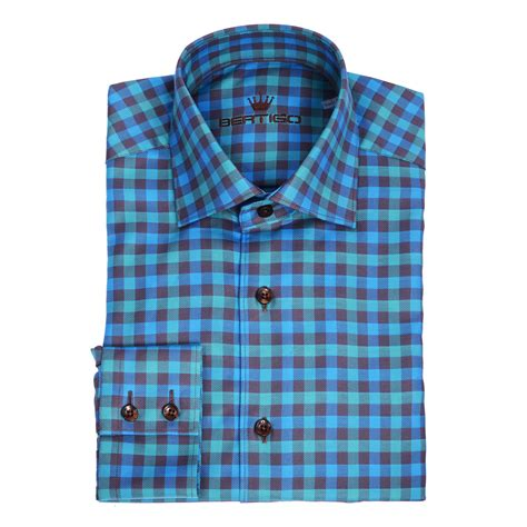 malilkids shirt blue checkers martini twill button up shirt turquoise navy blue