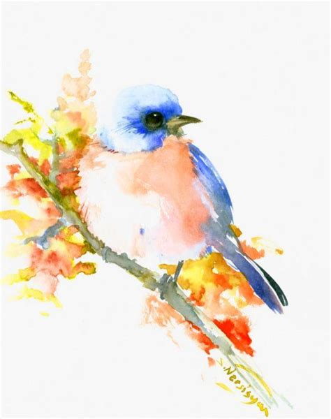 watercolor tattoo orange county blue watercolor bird with orange belly resting on leaved