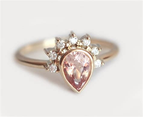 King Engagement Ring Shopping by Pear Morganite Engagement Ring Morganite Crown
