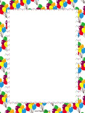 Festive Balloons Party Border Free Printable Birthday Borders And Frames