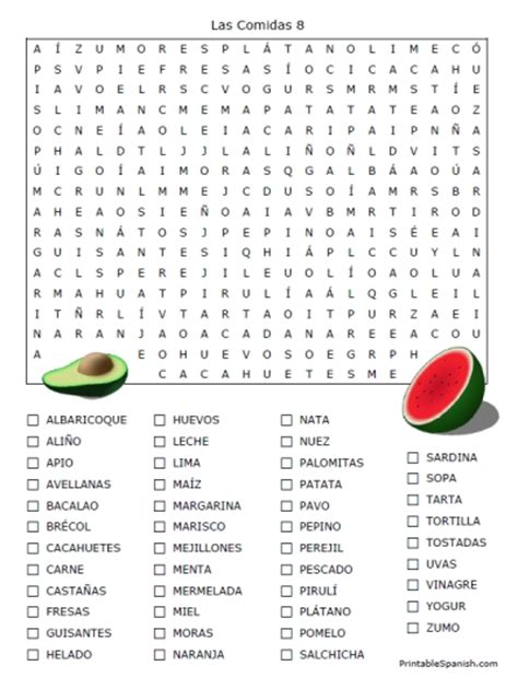 printable word search puzzles in spanish food in spanish 16 puzzle packet printable spanish