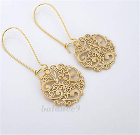pattern for gold earrings gold earrings filigree spray pattern disc charm drop by