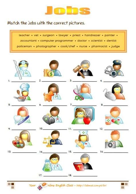 free printable english worksheets occupations jobs in english worksheets characters pinterest