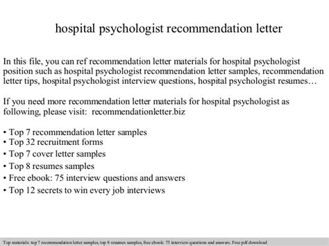 Hospital Psychologist Cover Letter by Hospital Psychologist Recommendation Letter