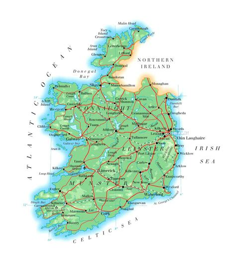 ireland physical map large detailed physical map of ireland with roads cities