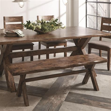 coaster bench coaster alston 121183 rustic bench with x base dunk bright furniture dining benches