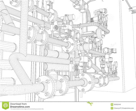 layout vector rendering industrial equipment wire frame render royalty free stock